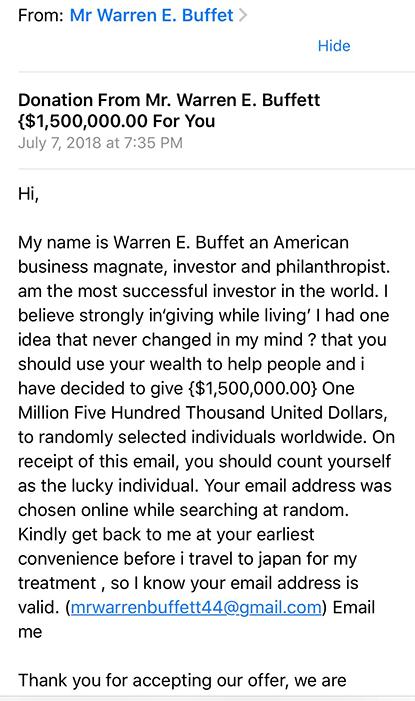 WArren buffet messaging spam